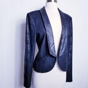 2B Bebe Plaid Faux Leather Trim Cropped Jacket